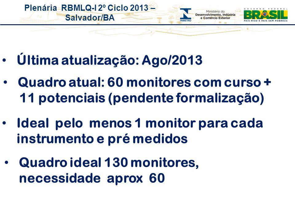 Plenária RBMLQ-I 2º Ciclo 2013 – Salvador/BA Quadro atual: 60 monitores com curso + 11 potenciais (pendente formalização) Última atualização: Ago/2013