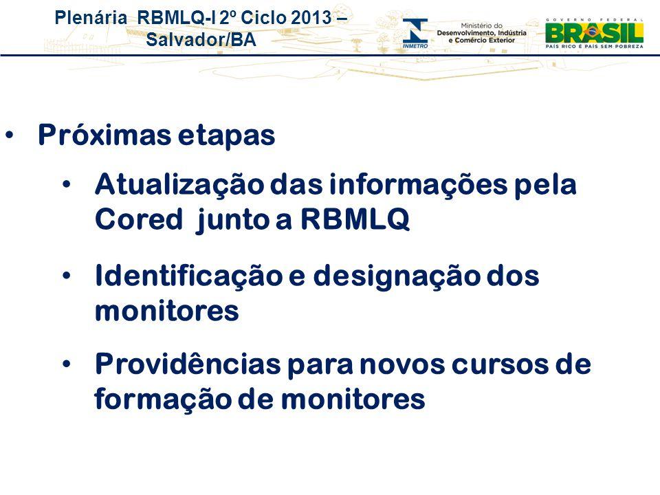 Plenária RBMLQ-I 2º Ciclo 2013 – Salvador/BA Atualização das informações pela Cored junto a RBMLQ Próximas etapas Identificação e designação dos monit