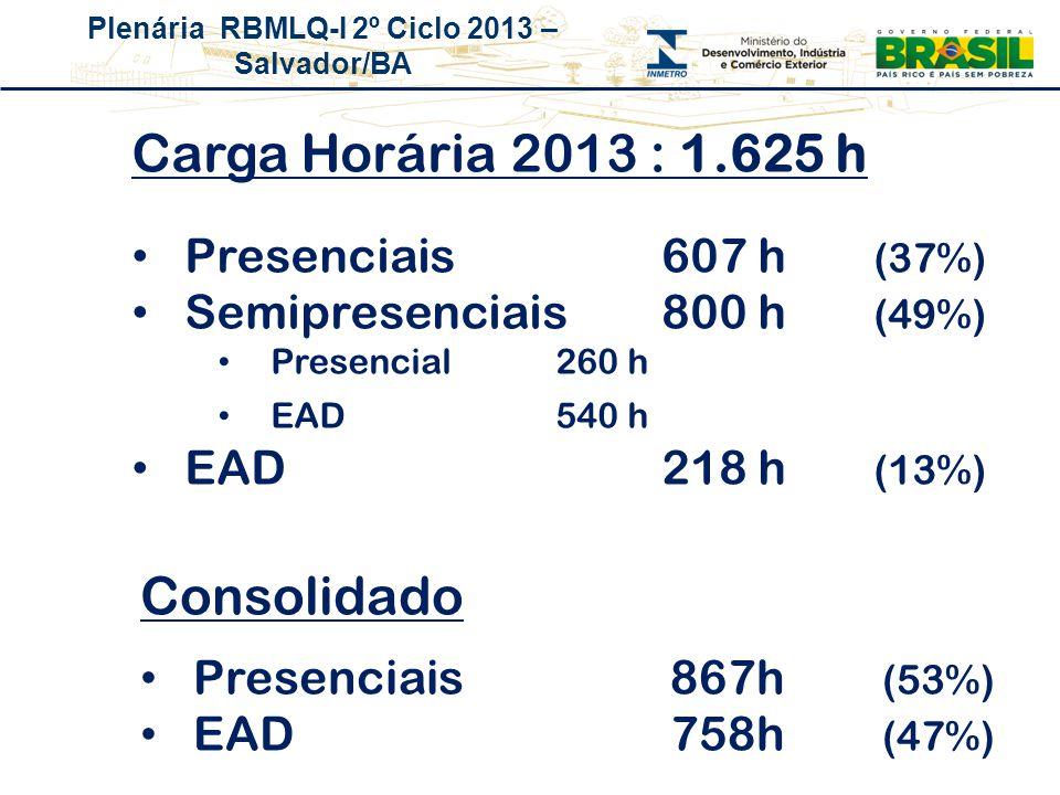 Plenária RBMLQ-I 2º Ciclo 2013 – Salvador/BA Carga Horária 2013 : 1.625 h Presenciais607 h (37%) Semipresenciais800 h (49%) Presencial260 h EAD540 h E