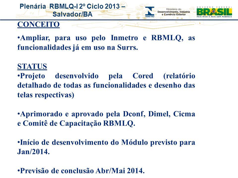 Plenária RBMLQ-I 2º Ciclo 2013 – Salvador/BA CONCEITO Ampliar, para uso pelo Inmetro e RBMLQ, as funcionalidades já em uso na Surrs. STATUS Projeto de