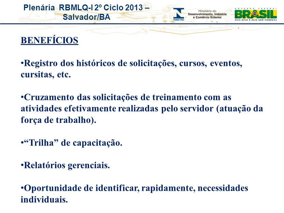 Plenária RBMLQ-I 2º Ciclo 2013 – Salvador/BA BENEFÍCIOS Registro dos históricos de solicitações, cursos, eventos, cursitas, etc. Cruzamento das solici
