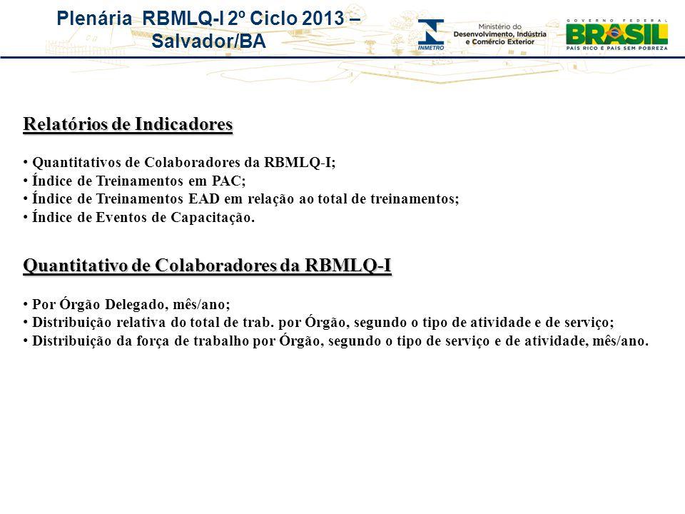 Plenária RBMLQ-I 2º Ciclo 2013 – Salvador/BA Relatórios de Indicadores Quantitativos de Colaboradores da RBMLQ-I; Índice de Treinamentos em PAC; Índic