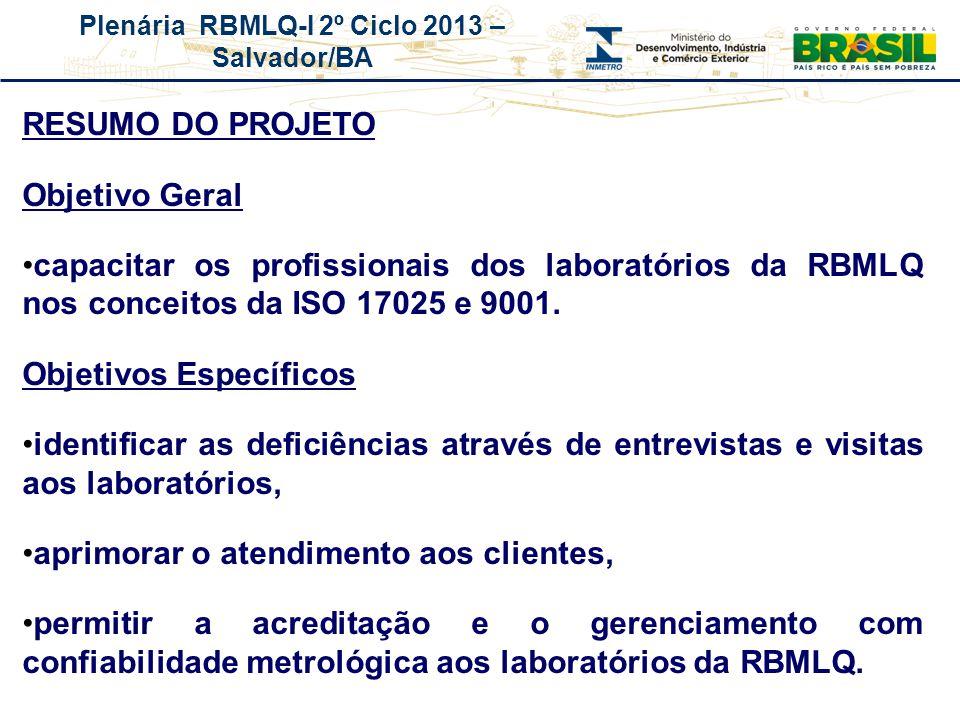 Plenária RBMLQ-I 2º Ciclo 2013 – Salvador/BA REDE DE CONSUMO SEGURO E SAÚDE DAS AMÉRICAS RESUMO DO PROJETO Objetivo Geral capacitar os profissionais d