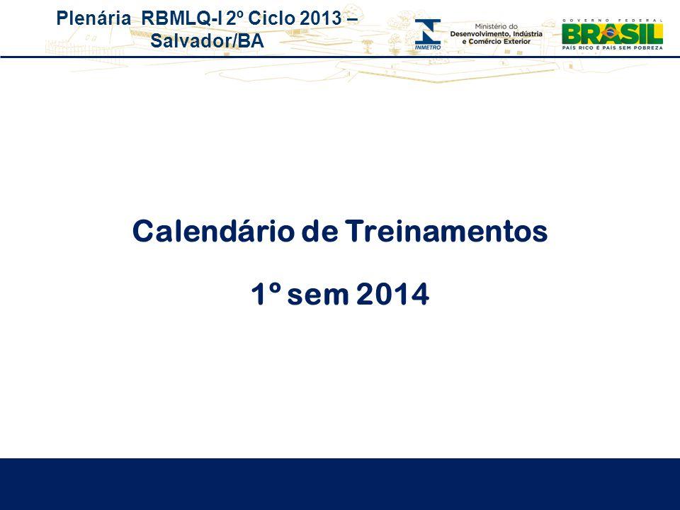 Plenária RBMLQ-I 2º Ciclo 2013 – Salvador/BA Calendário de Treinamentos 1º sem 2014