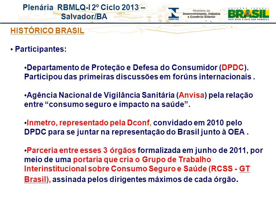 Plenária RBMLQ-I 2º Ciclo 2013 – Salvador/BA REDE DE CONSUMO SEGURO E SAÚDE DAS AMÉRICAS HISTÓRICO BRASIL Participantes: Departamento de Proteção e De