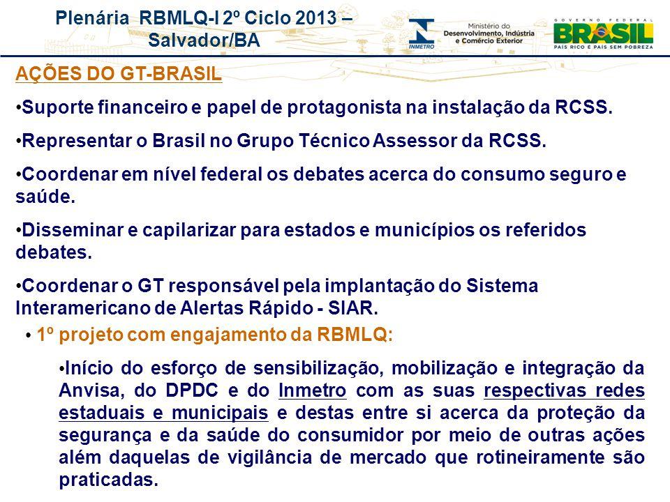 Plenária RBMLQ-I 2º Ciclo 2013 – Salvador/BA REDE DE CONSUMO SEGURO E SAÚDE DAS AMÉRICAS AÇÕES DO GT-BRASIL Suporte financeiro e papel de protagonista