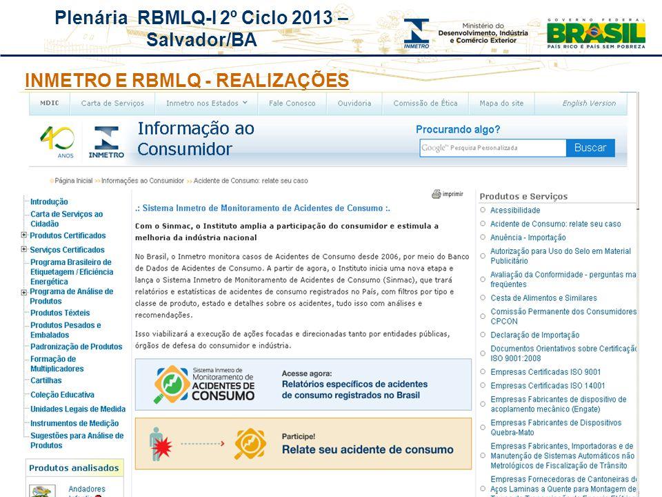 Plenária RBMLQ-I 2º Ciclo 2013 – Salvador/BA REDE DE CONSUMO SEGURO E SAÚDE DAS AMÉRICAS INMETRO E RBMLQ - REALIZAÇÕES
