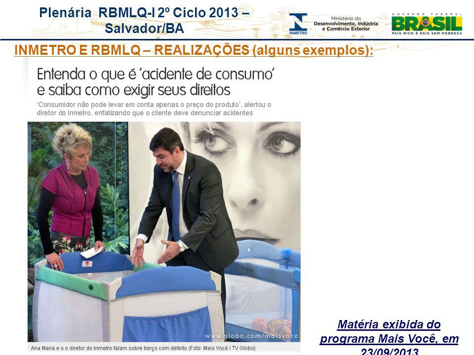 Plenária RBMLQ-I 2º Ciclo 2013 – Salvador/BA Matéria exibida do programa Mais Você, em 23/09/2013 INMETRO E RBMLQ – REALIZAÇÕES (alguns exemplos):