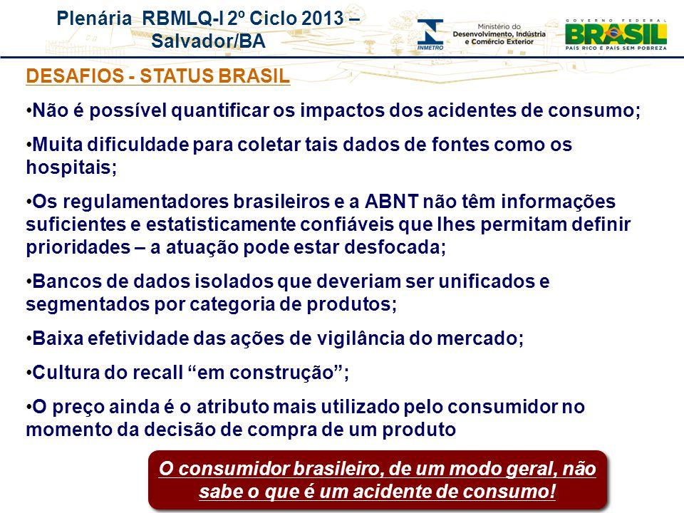 Plenária RBMLQ-I 2º Ciclo 2013 – Salvador/BA REDE DE CONSUMO SEGURO E SAÚDE DAS AMÉRICAS DESAFIOS - STATUS BRASIL Não é possível quantificar os impact