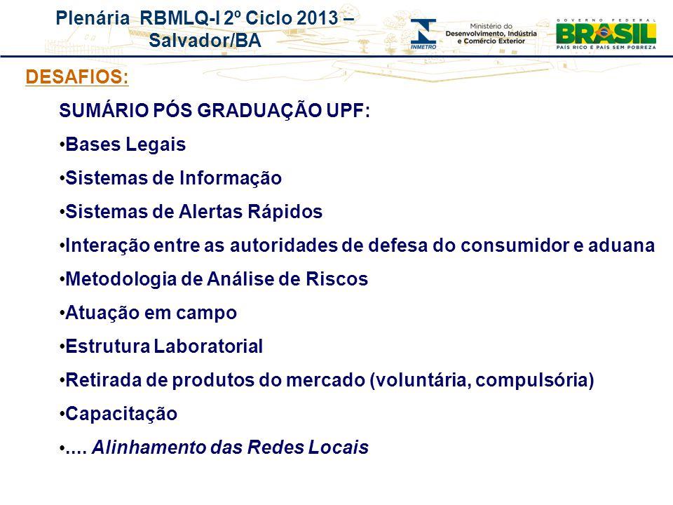 Plenária RBMLQ-I 2º Ciclo 2013 – Salvador/BA REDE DE CONSUMO SEGURO E SAÚDE DAS AMÉRICAS DESAFIOS: SUMÁRIO PÓS GRADUAÇÃO UPF: Bases Legais Sistemas de