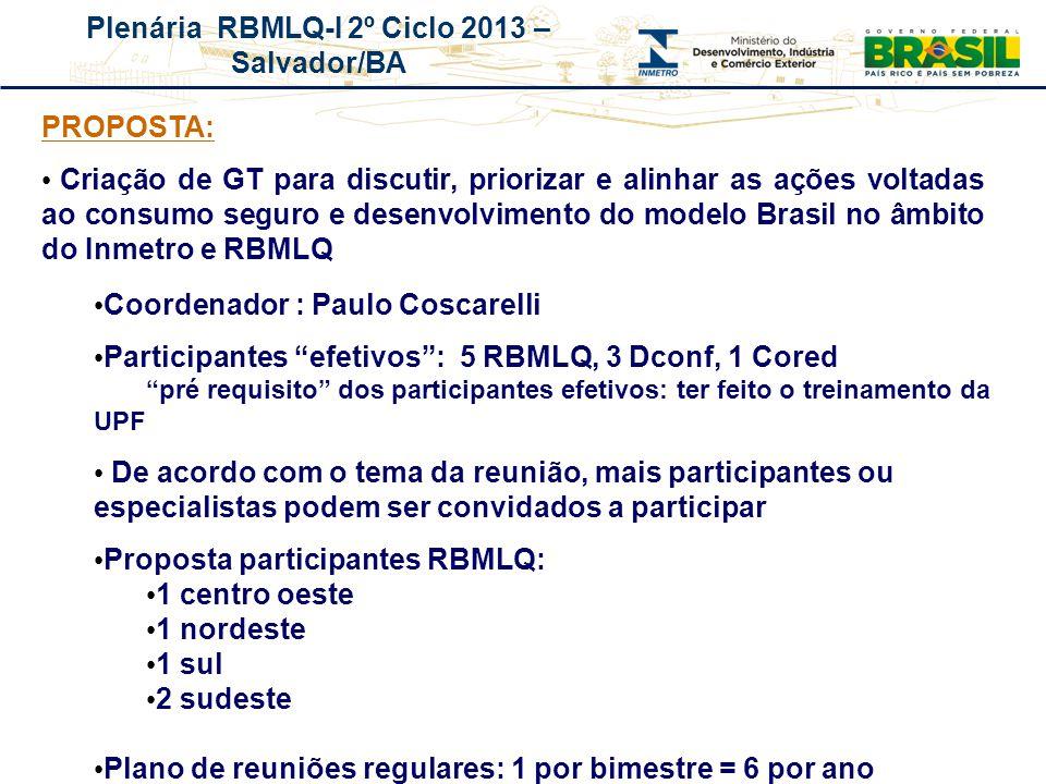 Plenária RBMLQ-I 2º Ciclo 2013 – Salvador/BA REDE DE CONSUMO SEGURO E SAÚDE DAS AMÉRICAS PROPOSTA: Criação de GT para discutir, priorizar e alinhar as