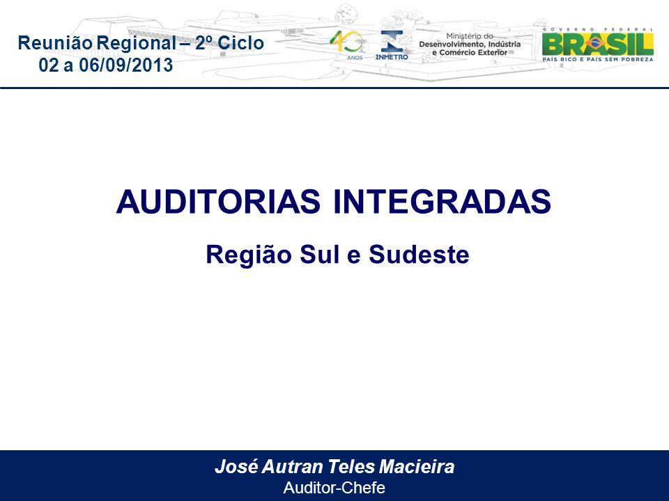 Reunião Regional – 2º Ciclo 02 a 06/09/2013 José Autran Teles Macieira Auditor-Chefe AUDITORIAS INTEGRADAS Região Sul e Sudeste