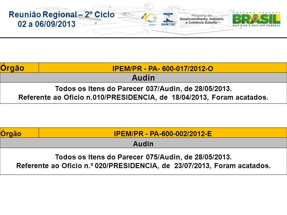 Reunião Regional – 2º Ciclo 02 a 06/09/2013 Órgão IPEM/PR - PA- 600-017/2012-O Audin Todos os Itens do Parecer 037/Audin, de 28/05/2013.