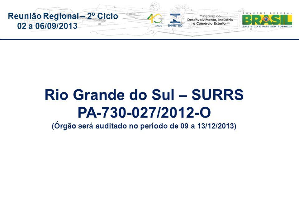 Reunião Regional – 2º Ciclo 02 a 06/09/2013 Rio Grande do Sul – SURRS PA-730-027/2012-O (Órgão será auditado no período de 09 a 13/12/2013)