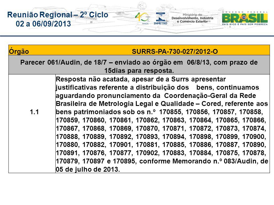 Reunião Regional – 2º Ciclo 02 a 06/09/2013 Órgão SURRS-PA-730-027/2012-O Parecer 061/Audin, de 18/7 – enviado ao órgão em 06/8/13, com prazo de 15dias para resposta.