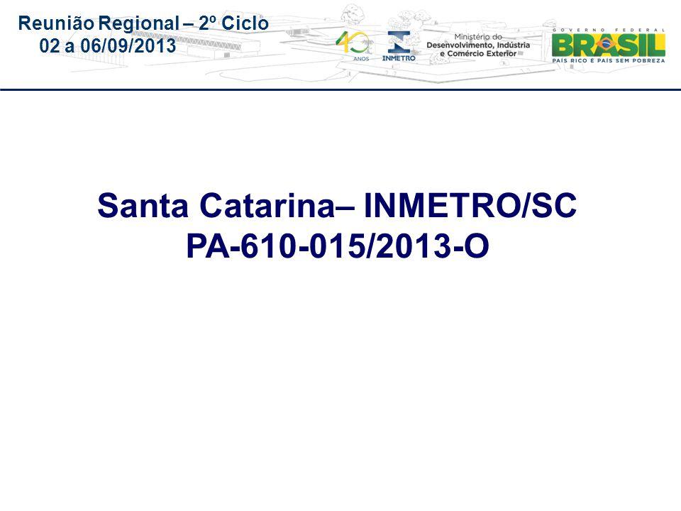Reunião Regional – 2º Ciclo 02 a 06/09/2013 Santa Catarina– INMETRO/SC PA-610-015/2013-O