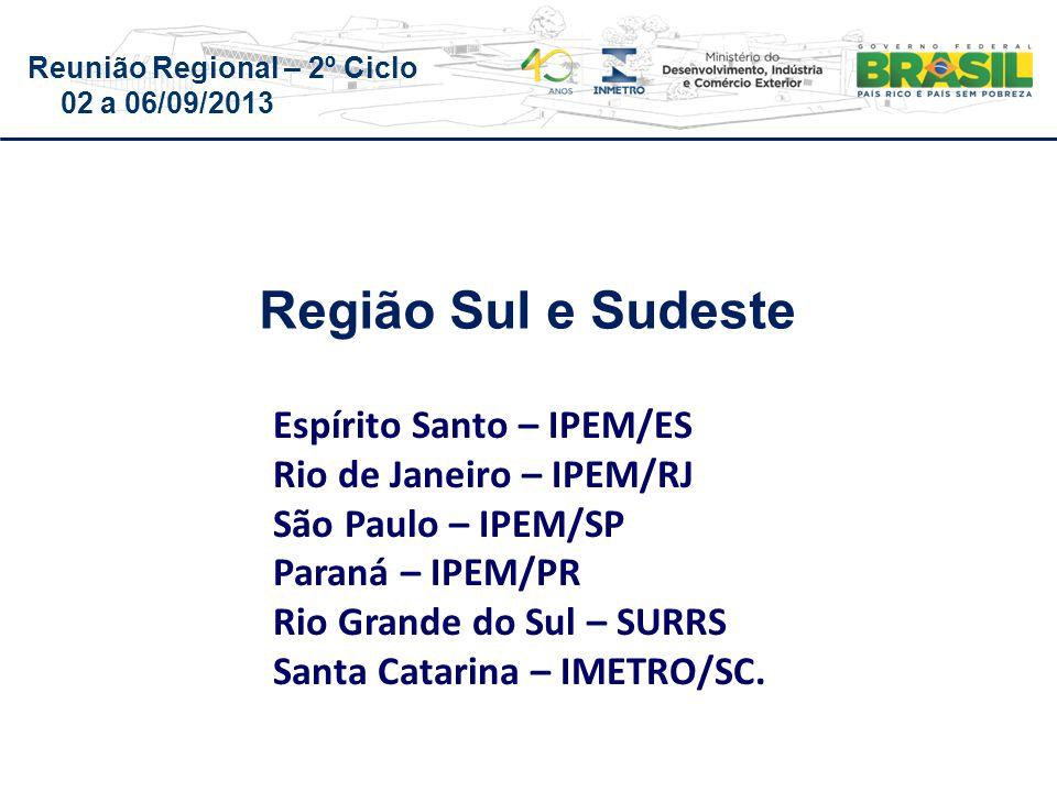 Reunião Regional – 2º Ciclo 02 a 06/09/2013 Espírito Santo – IPEM/ES Rio de Janeiro – IPEM/RJ São Paulo – IPEM/SP Paraná – IPEM/PR Rio Grande do Sul – SURRS Santa Catarina – IMETRO/SC.