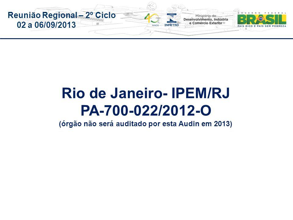 Reunião Regional – 2º Ciclo 02 a 06/09/2013 Rio de Janeiro- IPEM/RJ PA-700-022/2012-O (órgão não será auditado por esta Audin em 2013)