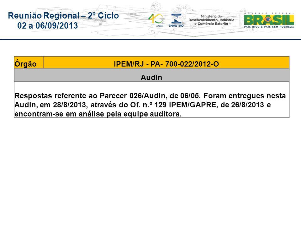Reunião Regional – 2º Ciclo 02 a 06/09/2013 ÓrgãoIPEM/RJ - PA- 700-022/2012-O Audin Respostas referente ao Parecer 026/Audin, de 06/05.