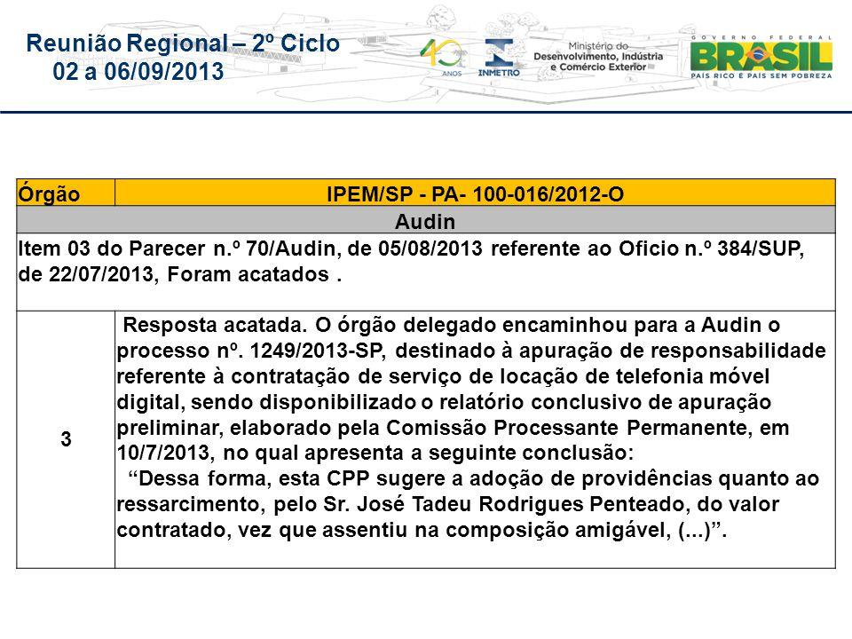 Reunião Regional – 2º Ciclo 02 a 06/09/2013 ÓrgãoIPEM/SP - PA- 100-016/2012-O Audin Item 03 do Parecer n.º 70/Audin, de 05/08/2013 referente ao Oficio n.º 384/SUP, de 22/07/2013, Foram acatados.