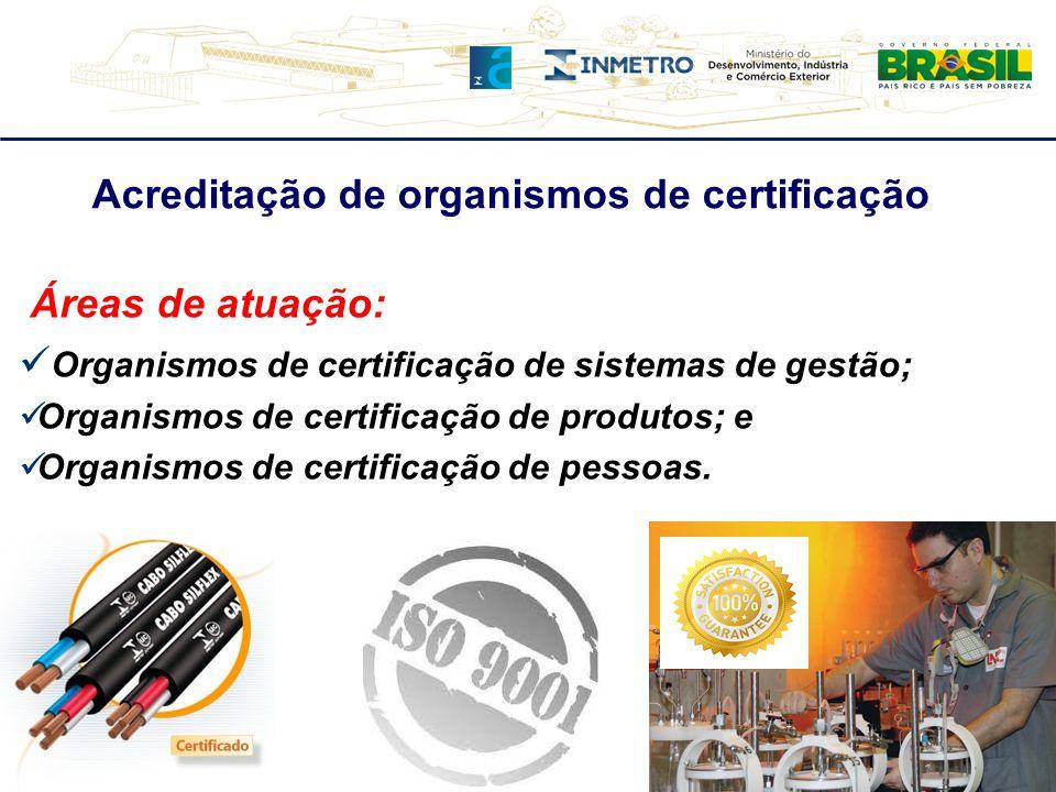 Áreas de atuação: Organismos de certificação de sistemas de gestão; Organismos de certificação de produtos; e Organismos de certificação de pessoas. A