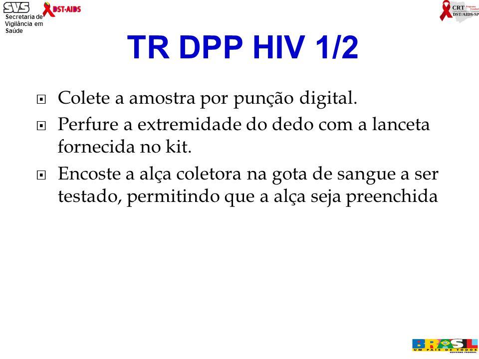 Secretaria de Vigilância em Saúde Ministério da Saúde  Colete a amostra por punção digital.