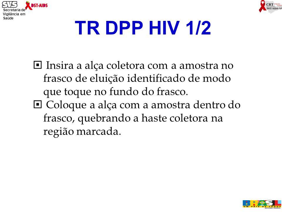 Secretaria de Vigilância em Saúde Ministério da Saúde TR DPP HIV 1/2  Insira a alça coletora com a amostra no frasco de eluição identificado de modo que toque no fundo do frasco.