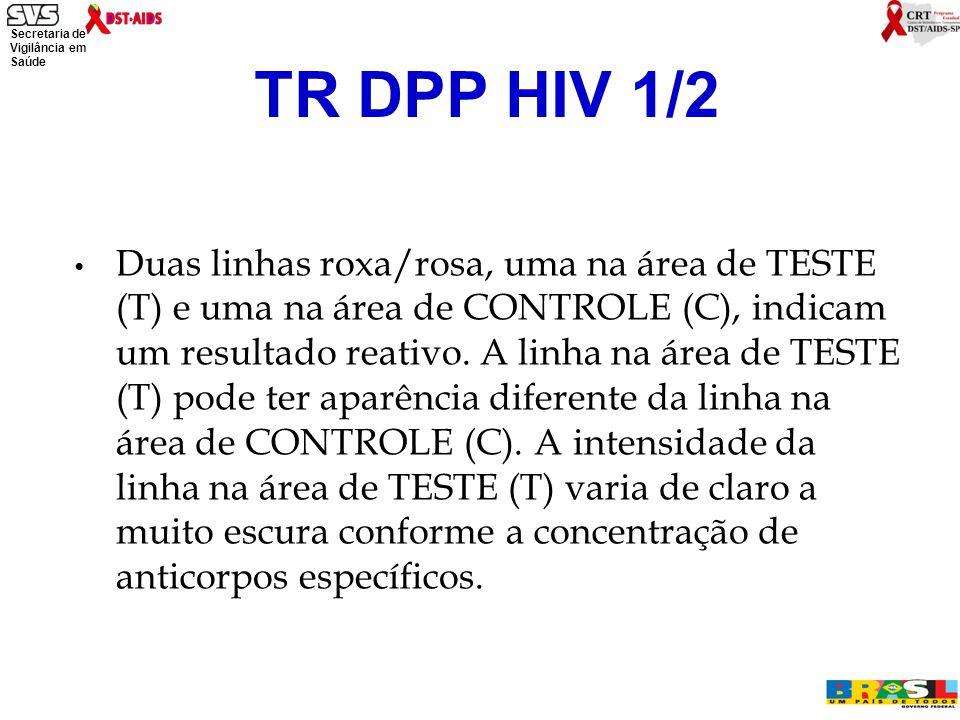 Secretaria de Vigilância em Saúde Ministério da Saúde Duas linhas roxa/rosa, uma na área de TESTE (T) e uma na área de CONTROLE (C), indicam um resultado reativo.