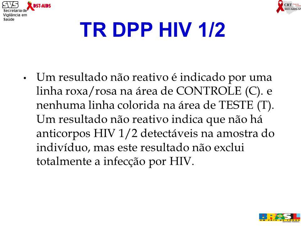 Secretaria de Vigilância em Saúde Ministério da Saúde Um resultado não reativo é indicado por uma linha roxa/rosa na área de CONTROLE (C).
