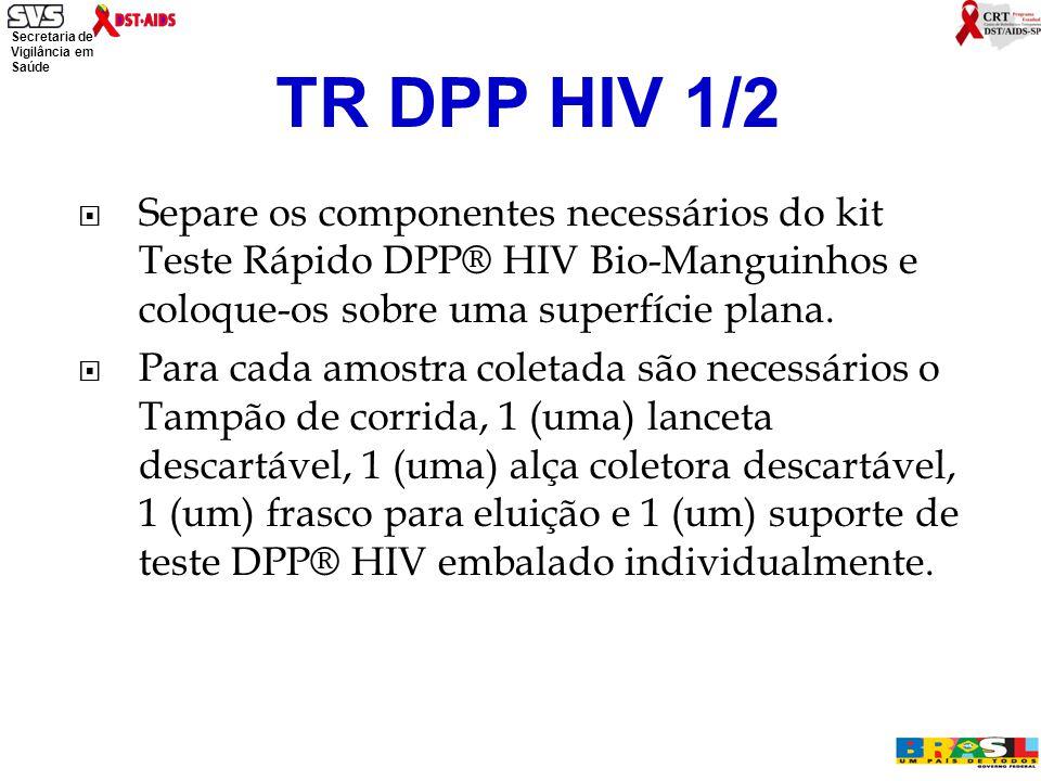 Secretaria de Vigilância em Saúde Ministério da Saúde  Separe os componentes necessários do kit Teste Rápido DPP® HIV Bio-Manguinhos e coloque-os sobre uma superfície plana.