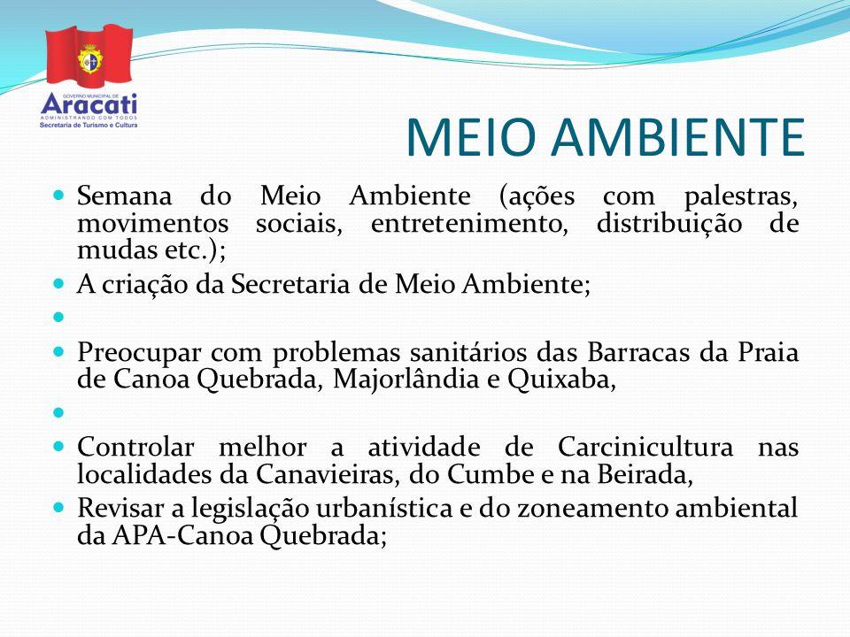 MEIO AMBIENTE Semana do Meio Ambiente (ações com palestras, movimentos sociais, entretenimento, distribuição de mudas etc.); A criação da Secretaria d