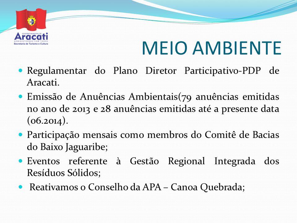 MEIO AMBIENTE Regulamentar do Plano Diretor Participativo-PDP de Aracati. Emissão de Anuências Ambientais(79 anuências emitidas no ano de 2013 e 28 an