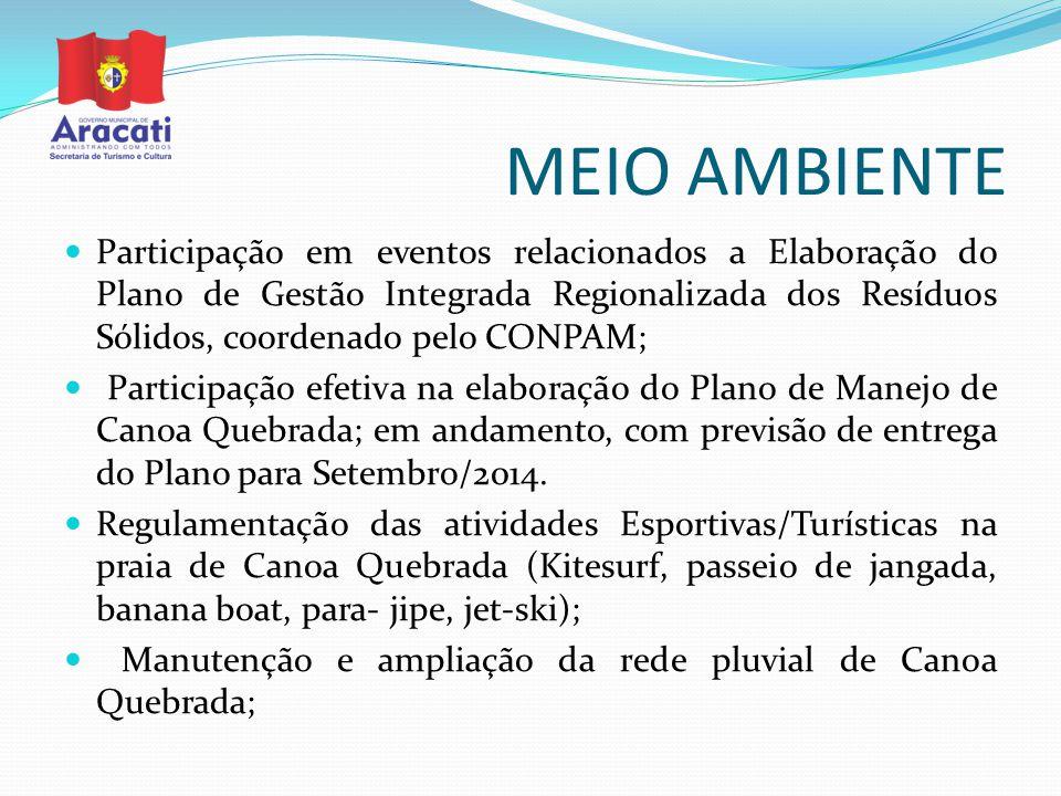 MEIO AMBIENTE Participação em eventos relacionados a Elaboração do Plano de Gestão Integrada Regionalizada dos Resíduos Sólidos, coordenado pelo CONPA