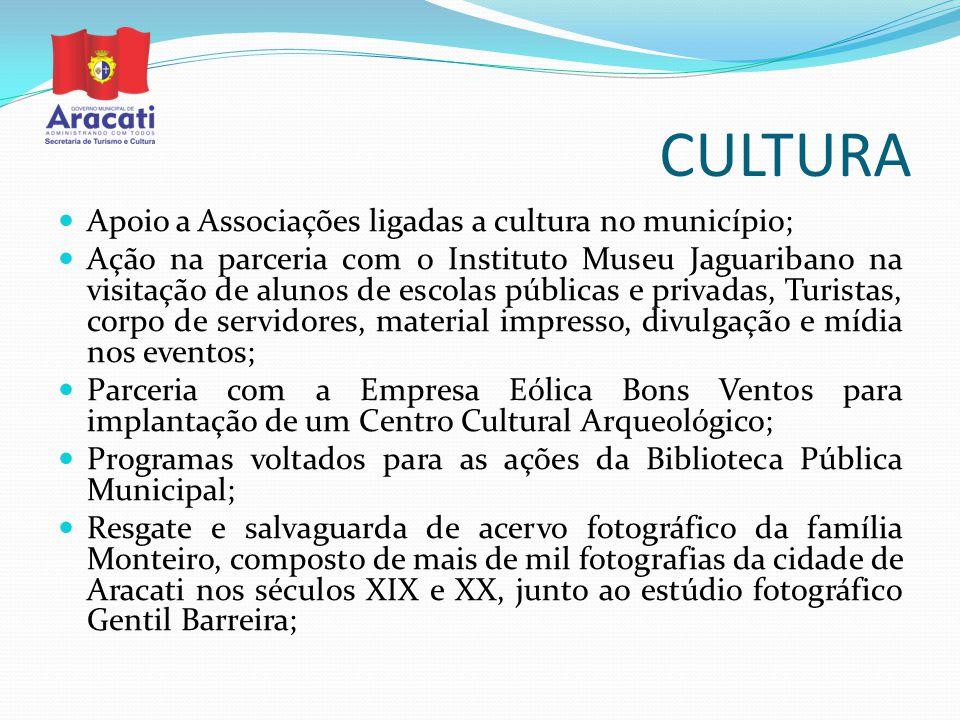 CULTURA Apoio a Associações ligadas a cultura no município; Ação na parceria com o Instituto Museu Jaguaribano na visitação de alunos de escolas públi