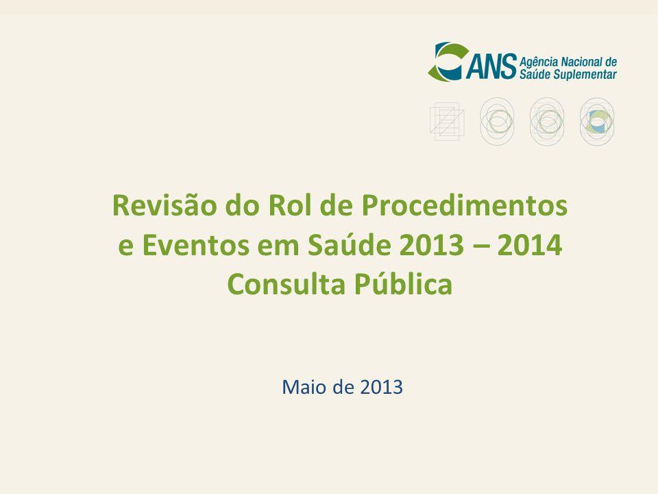 1 Revisão do Rol de Procedimentos e Eventos em Saúde 2013 – 2014 Consulta Pública Maio de 2013