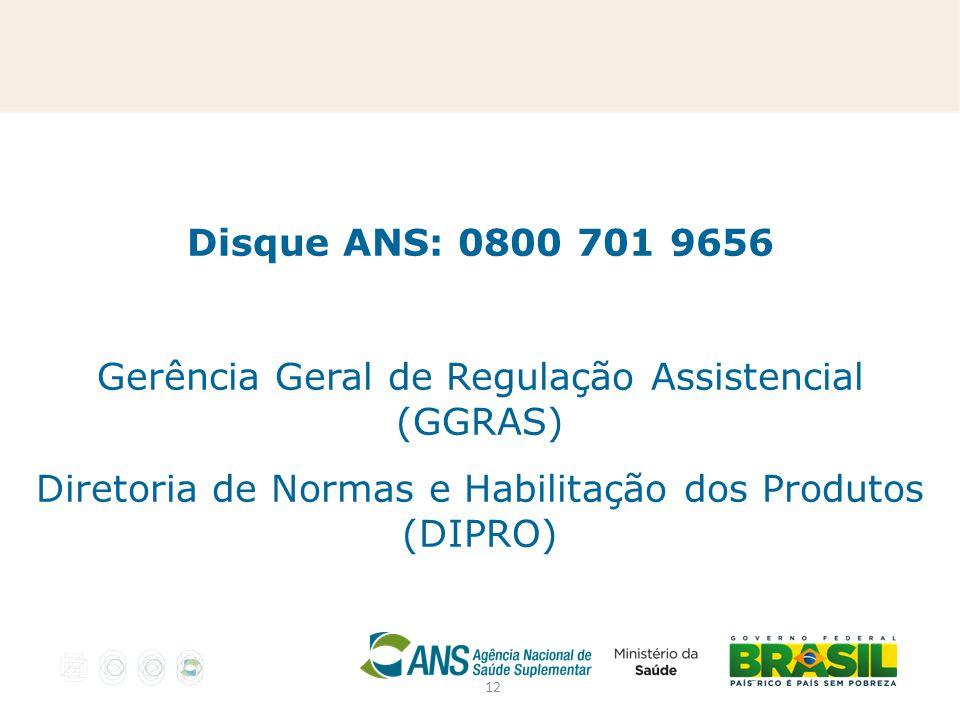 12 Disque ANS: 0800 701 9656 Gerência Geral de Regulação Assistencial (GGRAS) Diretoria de Normas e Habilitação dos Produtos (DIPRO)