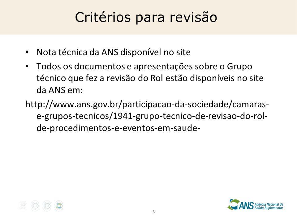3 Critérios para revisão Nota técnica da ANS disponível no site Todos os documentos e apresentações sobre o Grupo técnico que fez a revisão do Rol est
