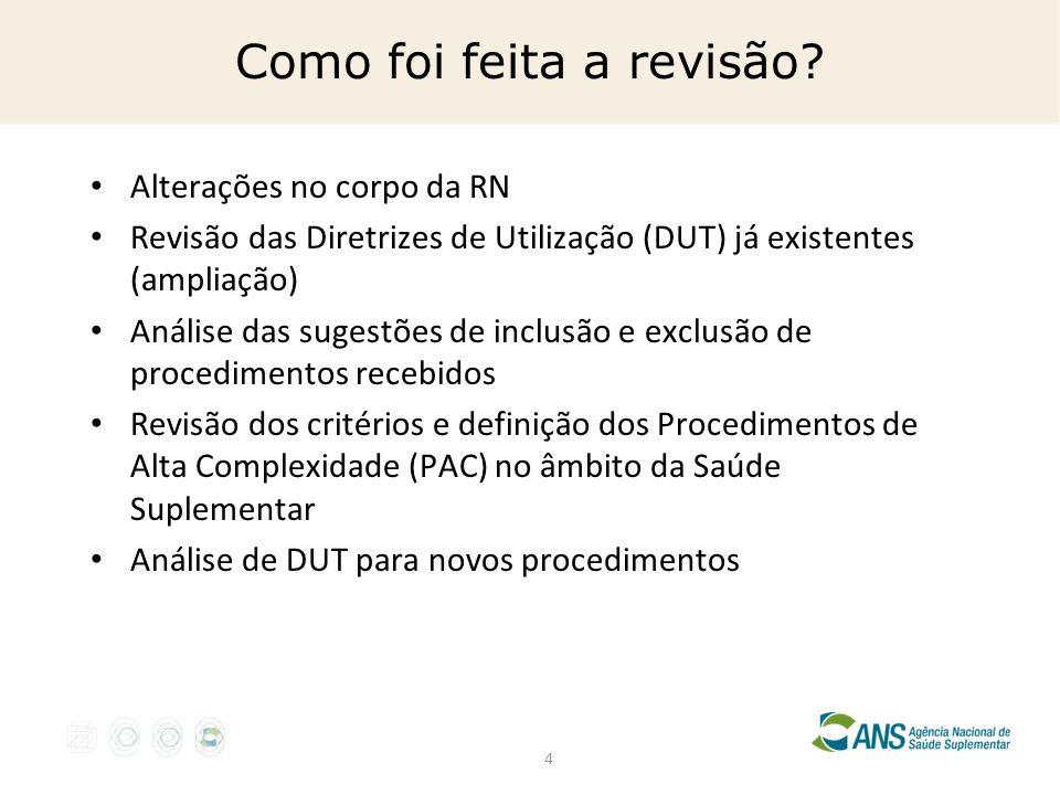 4 Como foi feita a revisão? Alterações no corpo da RN Revisão das Diretrizes de Utilização (DUT) já existentes (ampliação) Análise das sugestões de in