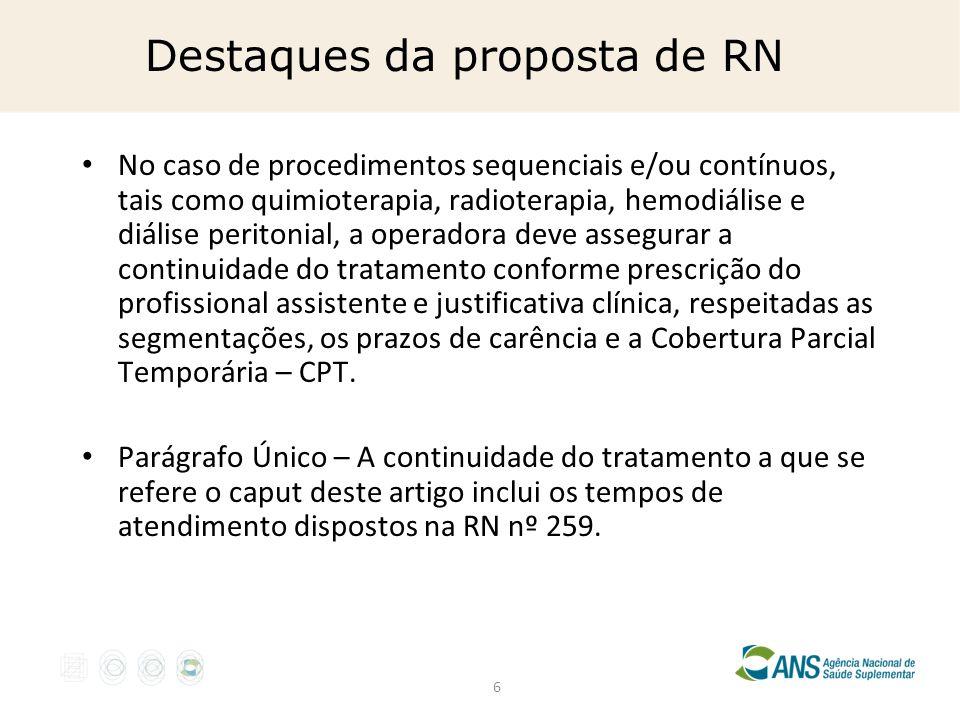 6 Destaques da proposta de RN No caso de procedimentos sequenciais e/ou contínuos, tais como quimioterapia, radioterapia, hemodiálise e diálise perito