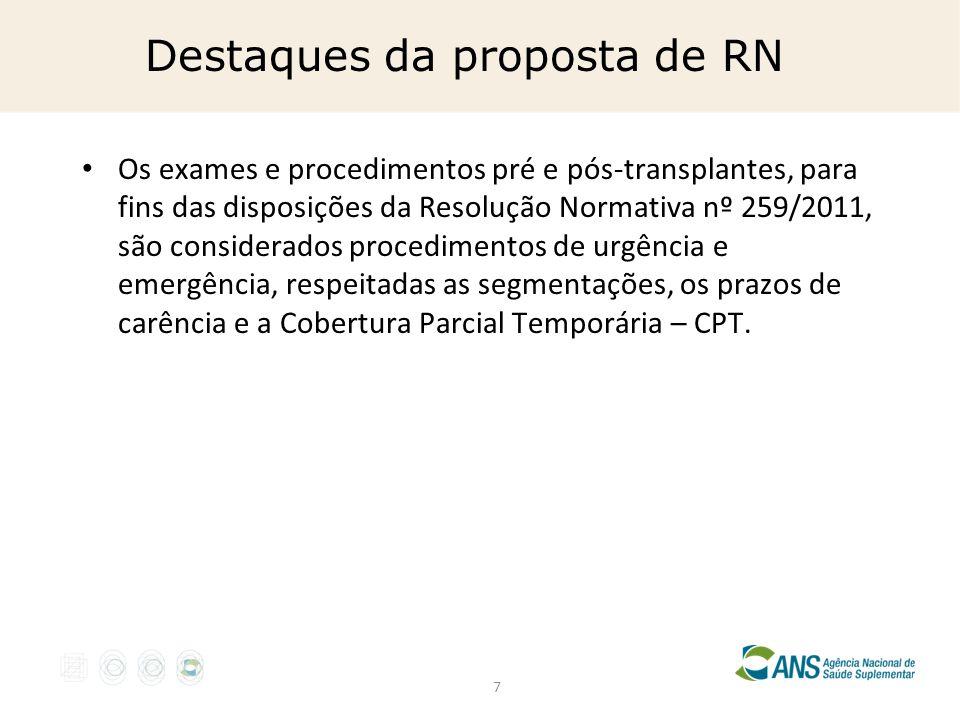 7 Destaques da proposta de RN Os exames e procedimentos pré e pós-transplantes, para fins das disposições da Resolução Normativa nº 259/2011, são cons