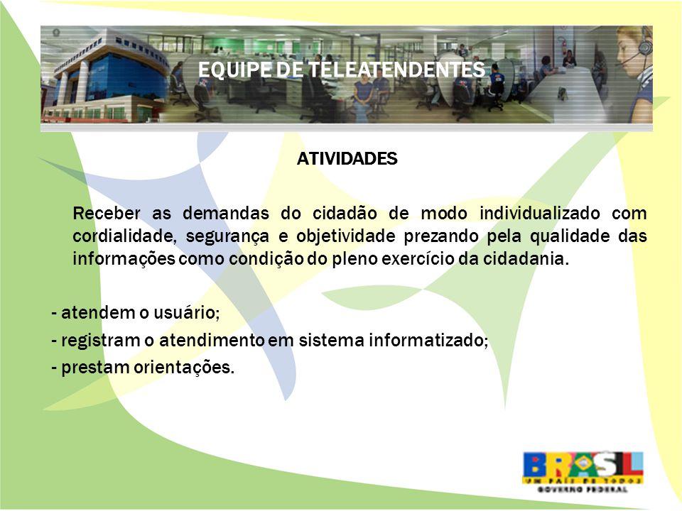 ATIVIDADES Receber as demandas do cidadão de modo individualizado com cordialidade, segurança e objetividade prezando pela qualidade das informações como condição do pleno exercício da cidadania.