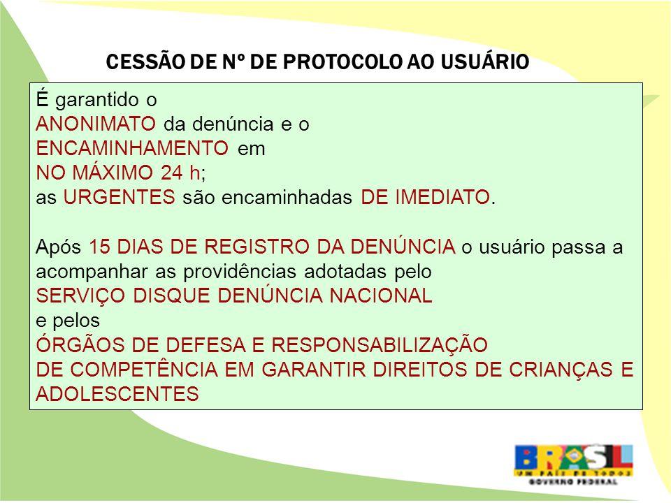 CESSÃO DE Nº DE PROTOCOLO AO USUÁRIO É garantido o ANONIMATO da denúncia e o ENCAMINHAMENTO em NO MÁXIMO 24 h; as URGENTES são encaminhadas DE IMEDIATO.