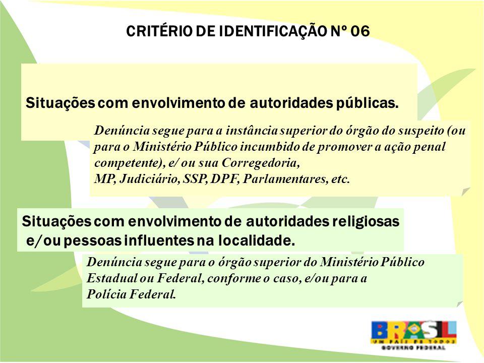 Situações com envolvimento de autoridades públicas.