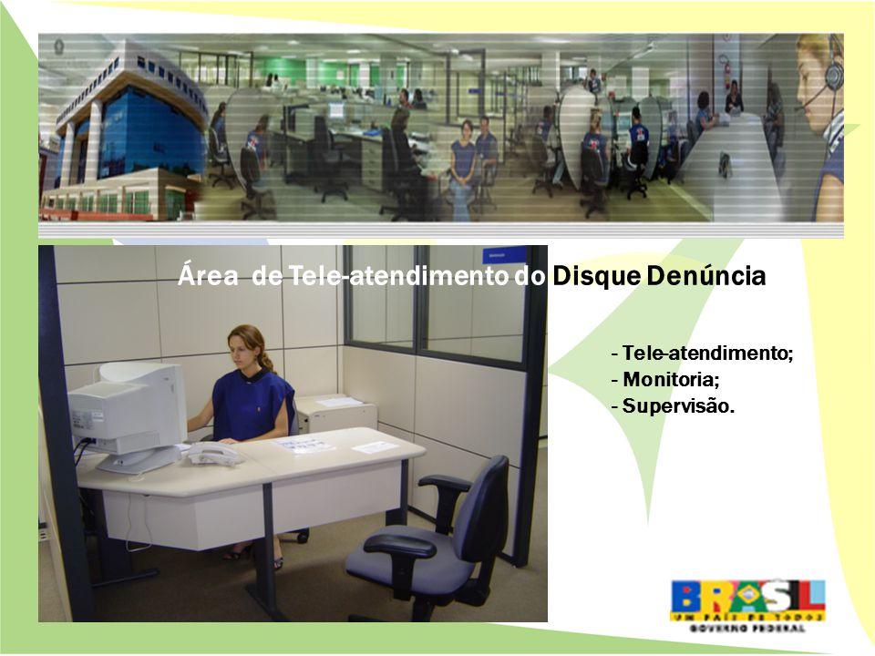 Área de Tele-atendimento do Disque Denúncia - Tele-atendimento; - Monitoria; - Supervisão.