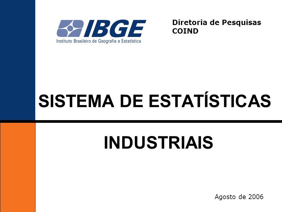 Agosto de 2006 SISTEMA DE ESTATÍSTICAS INDUSTRIAIS Diretoria de Pesquisas COIND