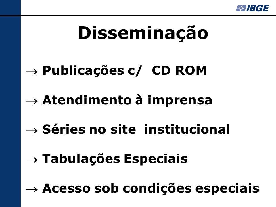 Disseminação  Publicações c/ CD ROM  Atendimento à imprensa  Séries no site institucional  Tabulações Especiais  Acesso sob condições especiais