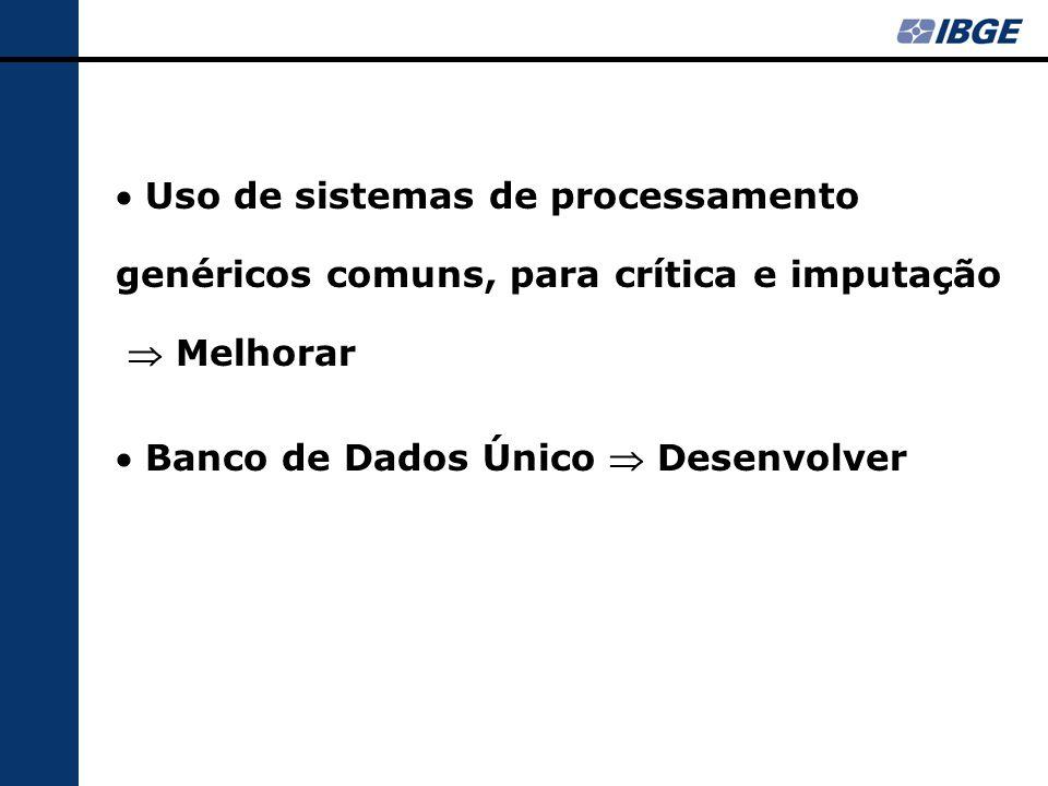  Uso de sistemas de processamento genéricos comuns, para crítica e imputação  Melhorar  Banco de Dados Único  Desenvolver
