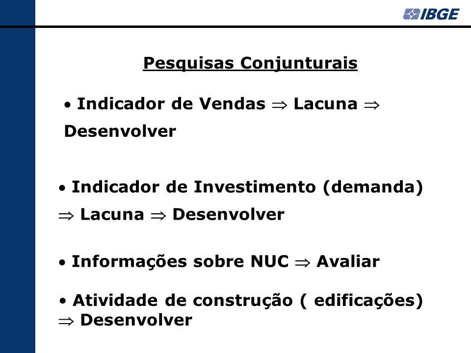 Pesquisas Conjunturais  Indicador de Vendas  Lacuna  Desenvolver  Indicador de Investimento (demanda)  Lacuna  Desenvolver  Informações sobre NUC  Avaliar Atividade de construção ( edificações)  Desenvolver