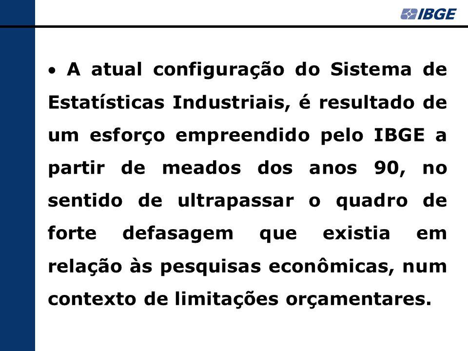  A atual configuração do Sistema de Estatísticas Industriais, é resultado de um esforço empreendido pelo IBGE a partir de meados dos anos 90, no sentido de ultrapassar o quadro de forte defasagem que existia em relação às pesquisas econômicas, num contexto de limitações orçamentares.