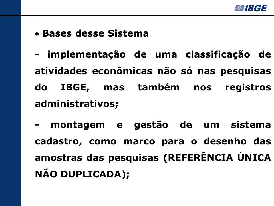  Bases desse Sistema - implementação de uma classificação de atividades econômicas não só nas pesquisas do IBGE, mas também nos registros administrativos; - montagem e gestão de um sistema cadastro, como marco para o desenho das amostras das pesquisas (REFERÊNCIA ÚNICA NÃO DUPLICADA);